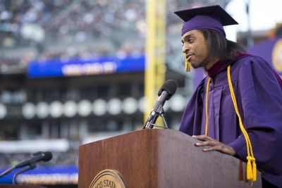 Africana studies major Richard Polotoe receives honors and delivers speech at 2016 Commencement at AT&T Park SF